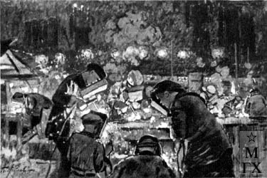 Петр Ив Котов Электросварщики (Кузнецкстрой). 1931.jpg