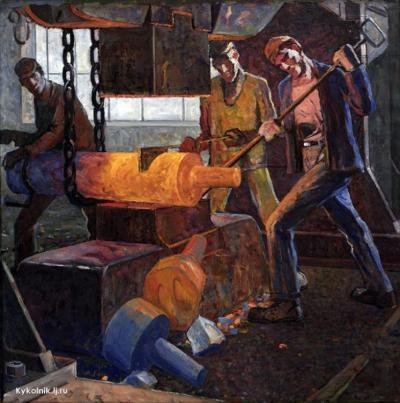 Татаренко Александр Александрович (СССР, 1925-1999) «Кузнецы Одесского судоремонтного завода» 1952.jpg