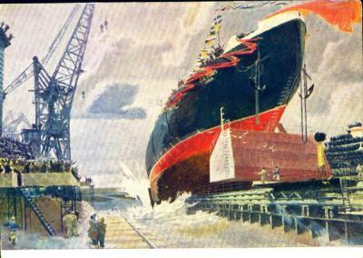 Спуск на воду атомного ледокола Ленин. худ.В.Штраних,1960 г..jpg