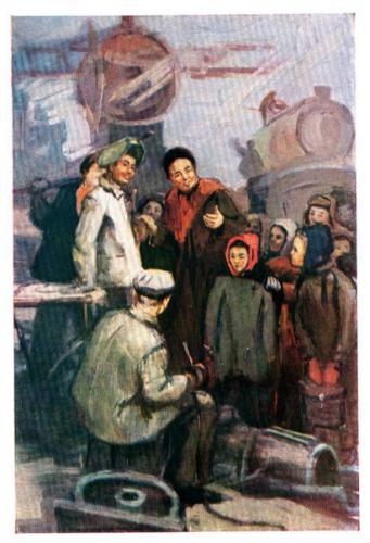 Экскурсия школьников на завод. худ.Г.Москалев, 1960 г.jpg